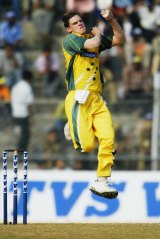 In action: Nathan Bracken playing for Australia in 2003.