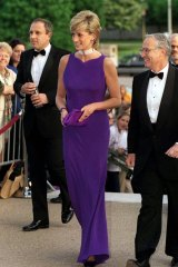 """In Versace at a gala dinner, 1996. """"After her divorce, Diana started wearing more Versace, which gave variety to her wardrobe. This is a breathtaking dress – you can just imagine her walking into a room in that glorious colour."""""""