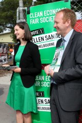 Successful Greens candidate Ellen Sandell and party leader Greg Barber at the Kensington Primary School polling booth on Saturday.
