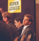 Lachlan Murdoch at a Super League press conference in 1995.