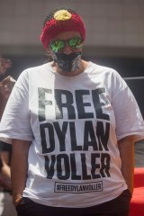 Joanne Voller, mother of Dylan who is being held at Darwin's Correctional Centre, at a Human Rights Rally in Sydney.