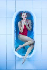 Chilling out in a cold bath: Model Lucy McIntosh, of Chadwicks.