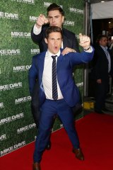 Zac Efron and Adam Devine horse around at the Sydney premiere of <i>Mike and Dave Need Wedding Dates</i>.