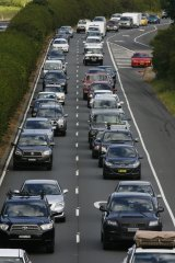 Backed up: the Pacific Highwayis queued back 13 kilometres.