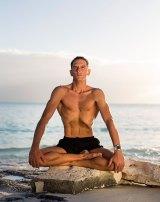 "William Trubridge in an abdominal yoga ""lock"" before a 2012 dive."