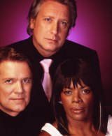 """Marcia Hines with her Australian Idol co-judges in 2004, when the show was at the height of its ratings power. Top: Ian """"Dicko"""" Dickson, left: Mark Holden."""