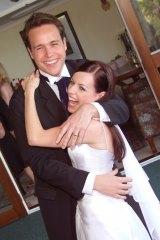 Nicole Pedersen-McKinnon and her bridegroom on their wedding day.