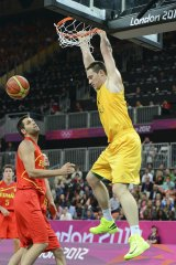 International experience: Australian big man Aron Baynes dunks during the London Olympics.