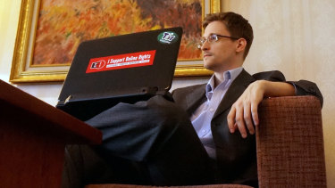 No regrets: Edward Snowden in a Moscow hotel room in December, 2013.