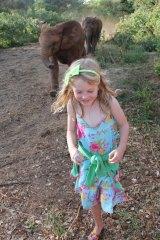 Darcy Baker at the David Sheldrick Elephant Sanctuary in Nairobi on January 16 last year.