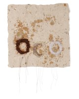 Ms Terton wove hair, snake skin and wool onto handmade paper.