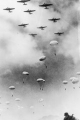 German paratroops land during the invasion of Crete.