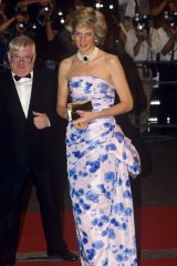 """In Catherine Walker, at a film premiere in 1989. """"I just love the simplicity of the shape. She wore that pearl-and-sapphire choker a lot – it was originally a brooch given to her by the Queen Mother as a wedding gift."""""""