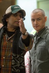 M. Night Shyamalan and James McAvoy on the set of <i>Split</i>.