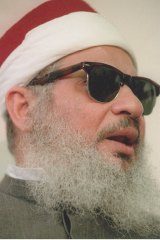 The blind sheikh,  Omar Abdel Rahman, in April 1993.
