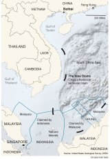 A map showing China's nine-dash line, Indonesia's territorial waters and the Natuna Islands.