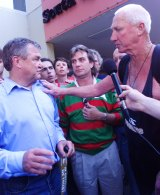 Souths supporters with Laurie Nichols (right).