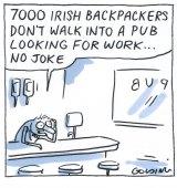 Matt Golding  Publican says '7000 Irish backpackers don't walk into a bar looking for work...no joke'