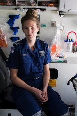 Paramedic Fiona Gwyther at the NSW Ambulance Headquarters in Rozelle.