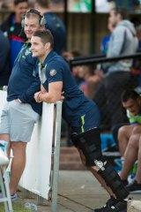 Raiders captain Jarrod Croker is happy to have the knee brace off.