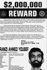 A State Department wanted poster shows 1993 World Trade Centre bombing suspect Ramzi Yousef, who was arrested in Pakistan in 1995 and is serving two life sentences in a Colorado jail.