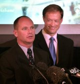 Then-Liberal lord mayor Campbell Newman and his Labor deputy David Hinchliffe in 2005.