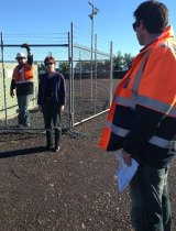 NSW chief scientist Mary O'Kane tours AGL's Spring Farm in 2013.