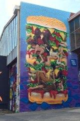 The Kama Sutra burger mural in Brunswick.