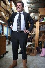 Senator Xenophon in his Australian sheepskin boots.