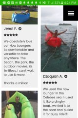 Screenshot of Now Lounger's website which shows people using the product in water.