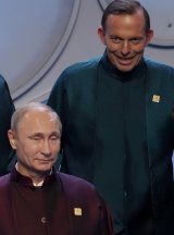 Prime Minister Tony Abbott with APEC Leaders including Russian President Vladimir Putin in Beijing.