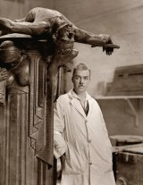 Portrait of sculptor Rayner Hoff in his studio with <i>The Sacrifice</i>.