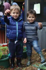 Sustainable living practices: (Left to right) Aleksander and Kai Miceli holding worms from the worm farm.