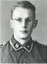 Auschwitz guard Oskar Groening as a young man in an SS uniform.