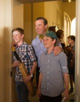 Mr Pyne with sons in January in this year.