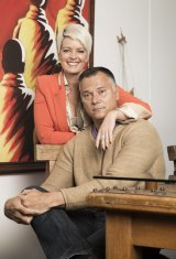 With his wife, Tracey Holmes, at their inner-Sydney home.