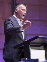 Making his speech on racism and the Australian dream at the Ethics Centre in Sydney earlier this year.