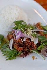 Larb crispy chicken on rice at Jinda Thai.