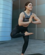Incorporating yoga into her training: Tamsin Cook.