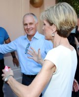 """""""Welcome to Wentworth"""": Malcolm Turnbull leads Julie Bishop inside."""