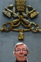 Cardinal George Pell meets the media at the Vatican last week after being changed by Victoria Police with sexual assault.