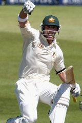 Phil Hughes celebrates his maiden Test century against South Africa in 2009.