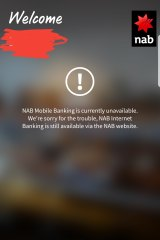 The error message offered by NAB's mobile banking service.