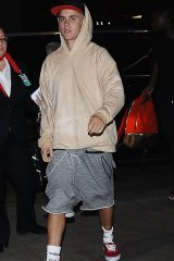 Justin Bieber at Los Angeles airport ahead of his flight to Melbourne.