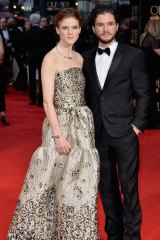 Rose Leslie swaps her furs for a Malene Oddershede Bach gown, while Kit Harington keeps it classic in a black tux.