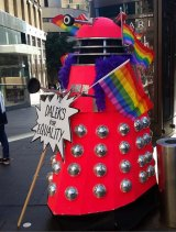 David the Dalek, made by Kathy Sant and Jenny Mann, at the Same-Sex Marriage Rally in Sydney on September 10, 2017.