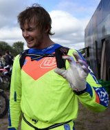 Psyched: Toby Price gets ready to race before Stage 12 of the 2015 Dakar Rally.