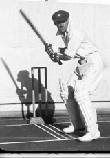 Donald Bradman at the height of his bat lift.