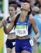 Allyson Felix leaves the track.