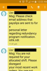 A screenshot of a text message sent to workers by Hutchison Ports Australia.